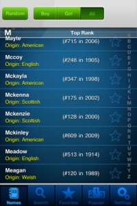 popular baby names iPhone Screenshot 3