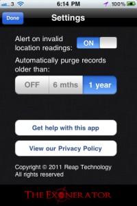 the-exonerator-iphone-app-review-settings